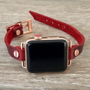 Apple Watch Band Rose Gold & Red Leather Bracelet